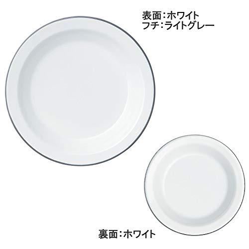 365methods 富士ホーロー プレート ホワイトxライトグレー 18cm YY-18PL.W