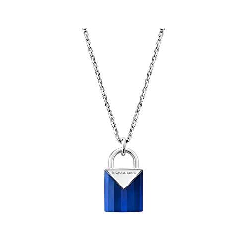 Michael Kors MKC1039AF040 - Collar con candado de plata de ley semipreciosa para mujer