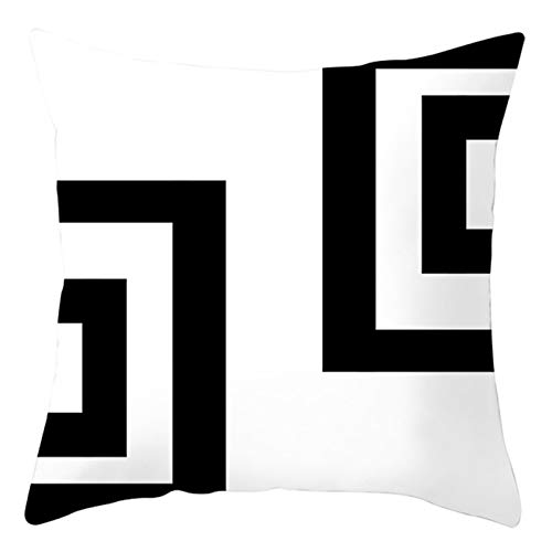 AtHomeShop Funda de cojín decorativa de 45 x 45 cm, funda de cojín en poliéster con geométrica, cómoda, cuadrada, para sofá, dormitorio, salón, terraza, decoración - Color negro y blanco, estilo 17