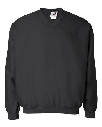 Badger Sportswear Men's V-Neck Windshirt, black, X-Large