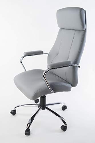 NAKURA Sillon de direccion clasico o Silla Tipo directivo para despacho, Oficina, bufete, Escritorio o Estudio en simil Piel Gris. Elevable y reclinable con Refuerzo Lumbar