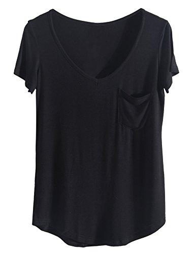 iClosam Damen T-Shirt Sommer Top Casual V Ausschnitt mit Tasche (#Schwarz, S)