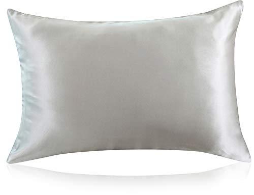ZIMASILK Funda de almohada 100% seda de morera para cabello y piel, ambos lados seda 19 momme, 1 pieza (estándar 50 x 75 cm, gris oscuro)