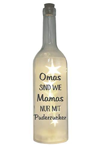WB wohn trends LED-Flasche mit Motiv, Omas sind wie Mamas nur mit Puderzucker, grau, 29cm, Flaschen-Licht Lampe mit Text Spruch
