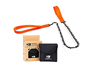"""Nordic Pocket Saw Survival Chainsaw - 25.6"""" Pocket Chainsaw With Tough Nylon Case - Handheld Chainsaw, Survival Saw, Camping Saw - 33 Bi directional Teeth ORIGINAL Version. Outdoor Portable chainsaw"""