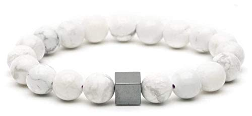 HAOKTSB Pulsera de Piedra Mujer, 7 Chakra Piedra Natural Beads Blanco Magnesita Elástico Joyería Joyería Yoga Inspiración Energía Encanto Difusor Pulsera Hombres para Regalo Pulsera de Piedra