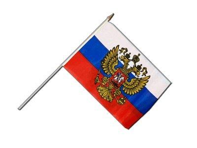 Flaggenfritze Stockflagge Russland mit Wappen - 30 x 45 cm
