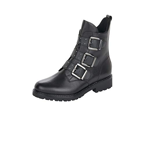 Remonte Damen Stiefeletten, Frauen Biker Boots, Stiefel halbstiefel bikerbootie flach,Schwarz,41 EU / 7.5 UK