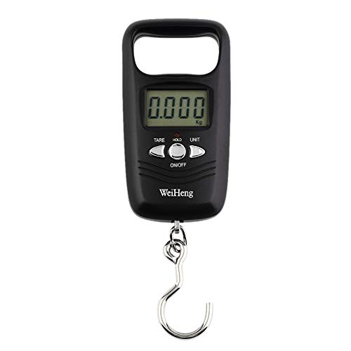 PRWJH 1PCS Mini Küche Hängeskala Tragbare elektronische Waage 50 kg LCD Digital Hängendes Gepäck Gewicht Angelhaken Waage-Schwarz