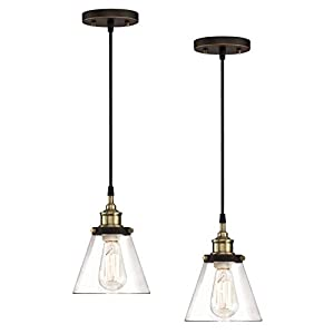 WISBEAM Pendant Lighting Fixture with Oil Rubbed Bronze and Brass Finish, Hanging Ceiling Lights with E26 Medium Base Max. 60 Watts, ETL Rated, Bulbs not Included (2-Pack)