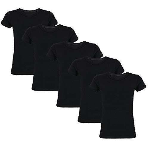 TupTam Kinder Jungen Unterhemd Kurzarm 5er Pack, Farbe: Schwarz, Größe: 140-146