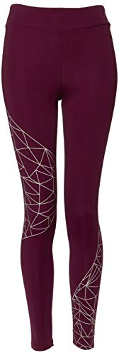 Marca Amazon - AURIQUE Leggings de Deporte con Estampado Óptico Mujer, Morado (Pickled Beet/Lotus), 40, Label:M