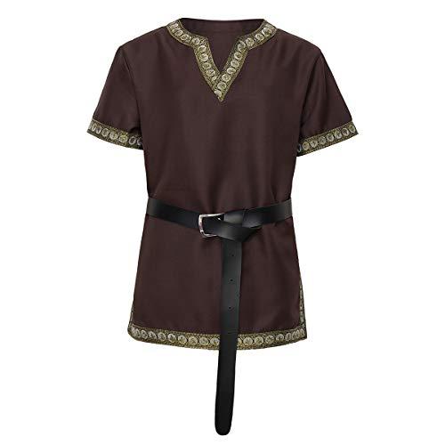 dream cosplay Túnica Medieval Traje Caballero Viking Guerrero Camiseta con Cinturón