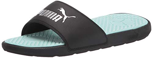 PUMA Women's Cool Cat Slide Sandal, Black-Fair Aqua Silver, 9