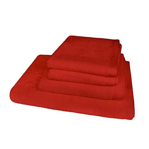 Banzaii Juego de Toallas Medidas Maxi - 2 Toallas de Tocador 60 x 40 cm + 1 Toalla de Baño 60 x 100 cm + 1 Toalla de Ducha 100 x 150 cm Rojo