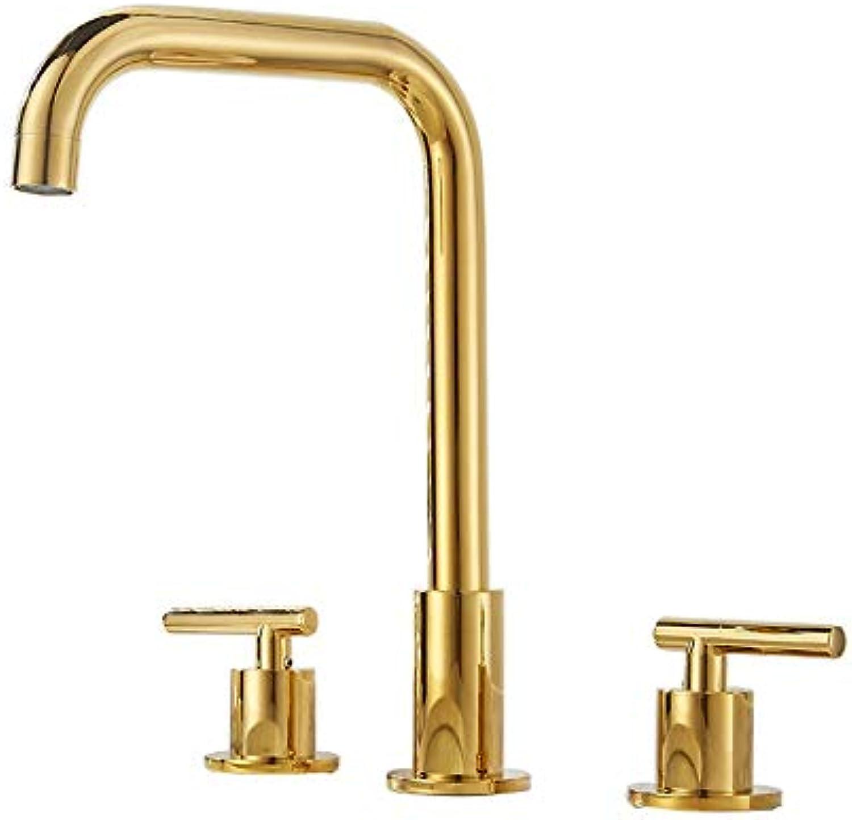 AXWT Europischen Stil Gold drei Lcher Becken Wasserhahn hei und kalt Wasserhahn Split Typ Waschen Sie Ihr Gesicht Waschbecken Badezimmerschrank Wasserhahn, Hahn (Farbe   Gold)