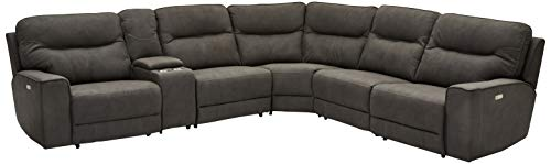 Ibbe Design L Form Ecksofa Grau Stoff Relaxsofa Couch mit Elektrisch Verstellbar Relaxfunktion Heimkino Sofa Nikita mit Fussteil, 347x313x98x102 cm
