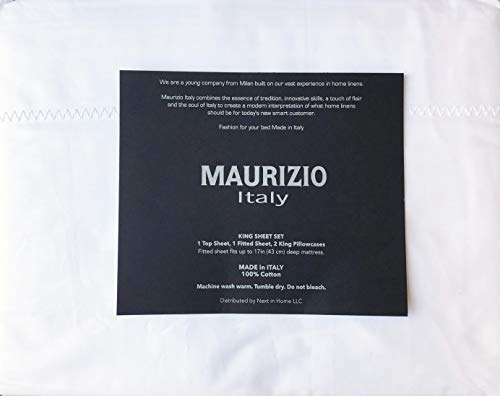 Maurizio Italy 4pc Sheet Set Solid White with an Embroidered Wide Lattice Ladder Stitch Style Line Along Hem 100% Cotton Luxury (King)