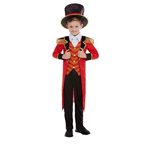 NET TOYS Disfraz Director de Circo niño - Negro-Rojo M, 7 - 9 años, 130 - 143 cm - Vestimenta Extravagante domador de Animales para Joven Fiesta de Disfraces y Carnaval