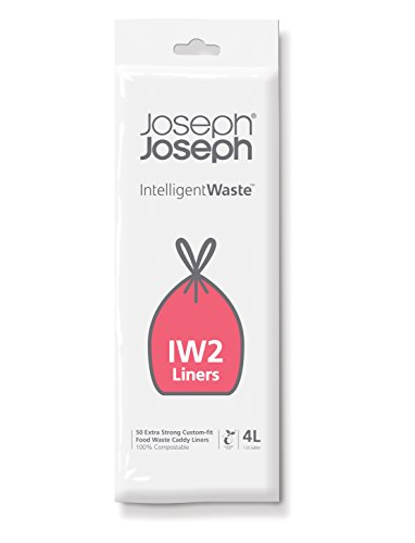 Joseph Joseph Intelligent IW2 Bin Liners Custom Fit Bags for Food Waste Caddy 1 Gallon / 4 Liter 100% Compostable, Pack of 50, Clear