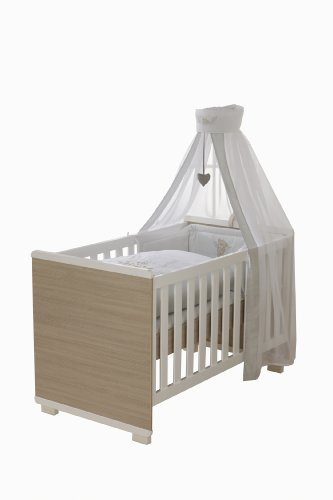 roba Kombi Kinderbett, 70x140 cm, Babybett Hochglanz weiß 3-fach höhenverstellbar, Baby- bzw. Kinderbett umbaubar zum Juniorbett