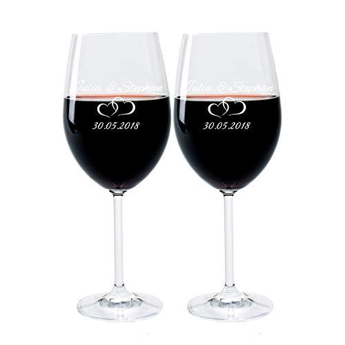 LEONARDO FORYOU24 2 Weingläser mit Gravur des Namens und Motiv Paar Wein-Glas graviert Hochzeit Geschenkidee Verlobung
