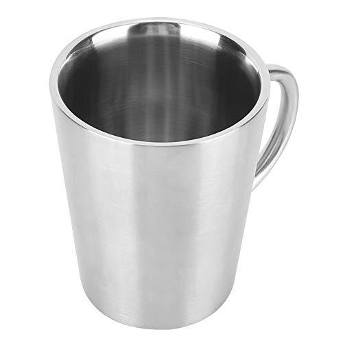 JYLSYMJa Taza de Acero Inoxidable para Tazas, Taza para Beber de Doble Capa de 350 ml con asa para Cervezas, té, Agua, Leche, se Puede Llevar(Plata)