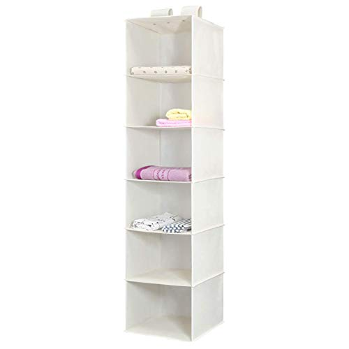 Magicfly Hanging Storage Shelves, 6-Shelves Closet Hanging Sweater Organizer, Collapsible, Easy Mount, Beige