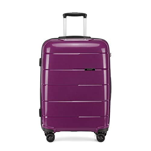 Kono Hard Shell 28 inch Large Check in Luggage in TSA Lock 4 Wheeled Spinner Polypropylene Suitcase with YKK Zipper (L (74cm - 105L), Purple)