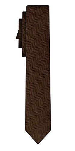 Cravate soie unie étroite solid brown fishbone, 6cm