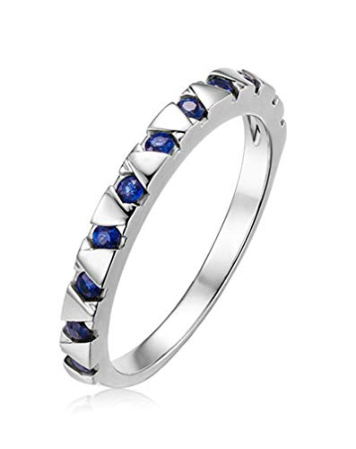 Clavie Half Eternity Ring 0.31ct Sapphire 18K White Gold Size N 1/2