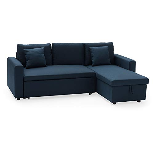Canapé d'angle 3 places Bleu Tissu Confort