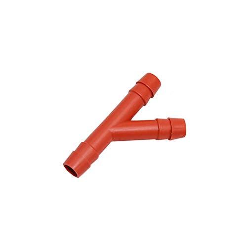 8 PCS 10MM Y Conector Splitter de Agua 3-vía Manguera de jardín Irrigación de riego tee Barb Drip FISTINGS Jardinería Riego (Color : Red)