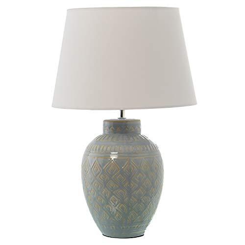 DRW Lámpara de Sobremesa de Cerámica con Pantalla en 32x52cm