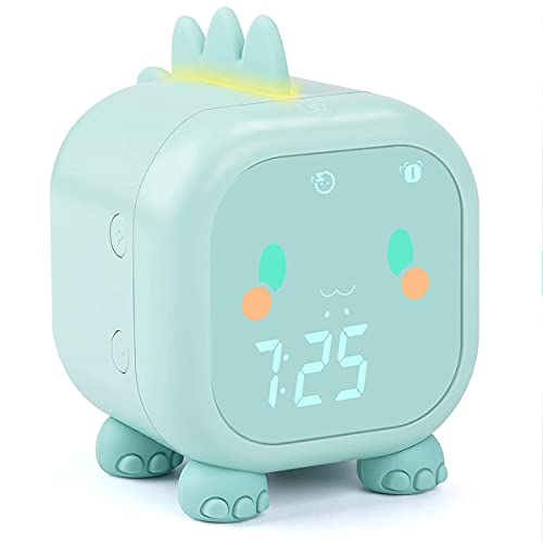 Wygard sveglia bambini Orologio da comodino Dinosaur, sveglia digitale per bambini con temperatura interna, trainer del sonno per bambini, luce di sveglia, adatto per adulti bambini ragazze