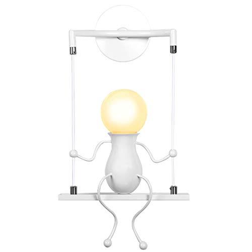 KAWELL Humanoid Kreative Wandleuchte Moderne Wandlampe Einfache Kerzen Wandleuchten Art Deco Max 60W E27 für Kinder Zimmer, Schlafzimmer Nachttisch, Treppen, Flur, Restaurant, Küche, Swing Weiß x1