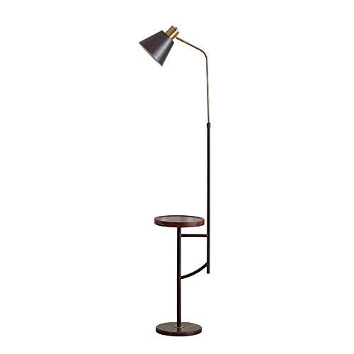 FWZJ Lámpara de pie Moderna Ajustable en Altura, lámpara de pie Negra con Enchufe E27 con Bandeja de Madera, Puerto USB, Base de mármol, 3 temperaturas de Color, luz de Suelo LED para Sala de EST