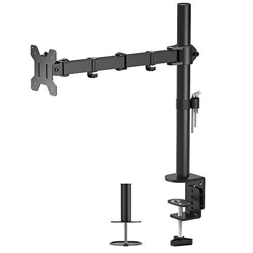 BONTEC Single Arm Desk Mount Ergonomic LCD LED Computer Monitor Bracket Stand Tilt Swivel Rotation 13'-32' Screen TV | VESA Dimensions: 75x75-100x100
