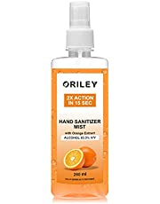 ORILEY 2X Action Hand Sanitizer Mist with Orange Extract 83.3% Ethyl Alcohol Spray-based Liquid Rinse-free Germ Protection Palm Handrub (260ml)