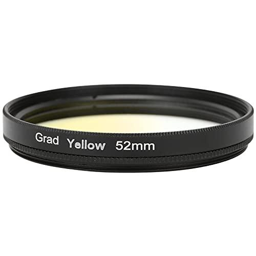 Goshyda Filtro de Lente Degradado, Filtro de Lente de cámara DSLR de 52 mm para Canon, Nikon, Sony, Olympus, cámara Fuji(Amarillo Graduado)