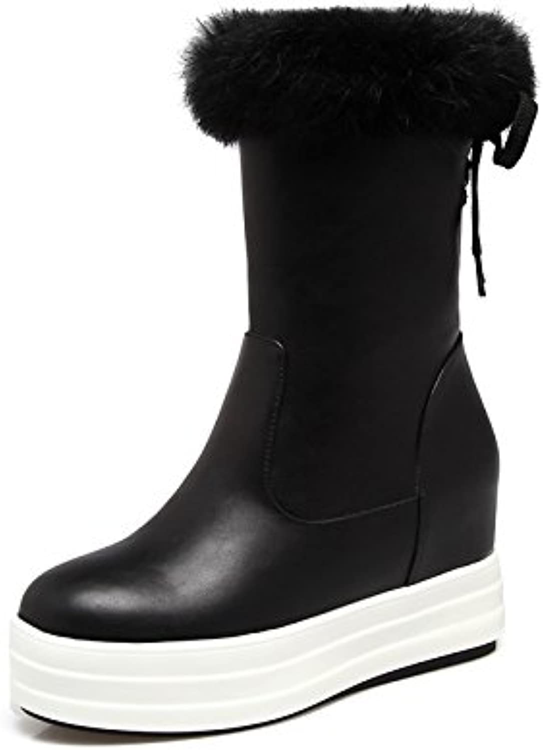 HSXZ Women's shoes Leatherette Winter Fall Snow Boots Fashion Boots Bootie Boots Null Flat Round Toe Booties Ankle Boots MidCalf Boots   for