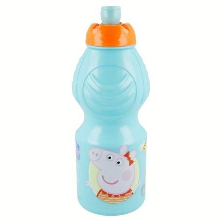 Borraccia Sport in plastica Bottiglia per Bambini 400ML con beccuccio retraibile (Peppa Pig)