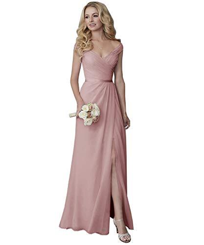 Yilis Off The Shoulder V-Neck Split Chiffon Bridesmaid Dress Long Wedding Party Dress Dusty Rose 6