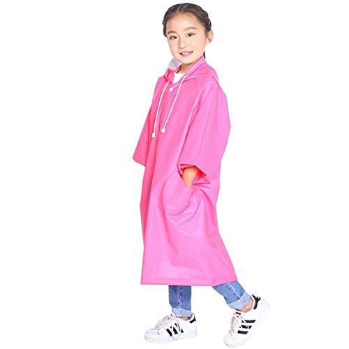 XINGRUI Rain Gear Supplies Mode Enfants Léger EVA Transparent Cape Imperméable Grand Chapeau avec Poche Taille: XL (Rose) (Color : Pink )