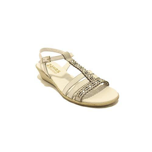 24 Horas 22909 - Sandalias de Mujer Crema con Brillantes y Detalles Florales Pequeña Cuña - 36, Blanc