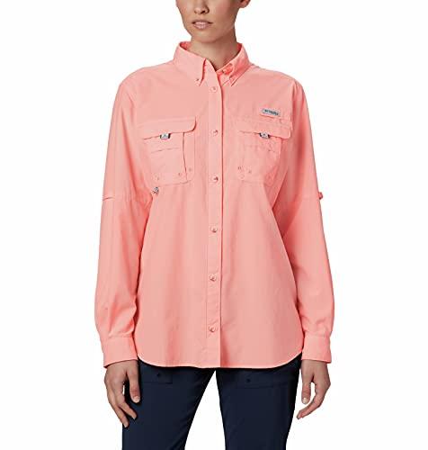 Columbia Women's PFG Bahama II Long Sleeve Shirt, Breathable, UV Protection,Tiki Pink,X-Large