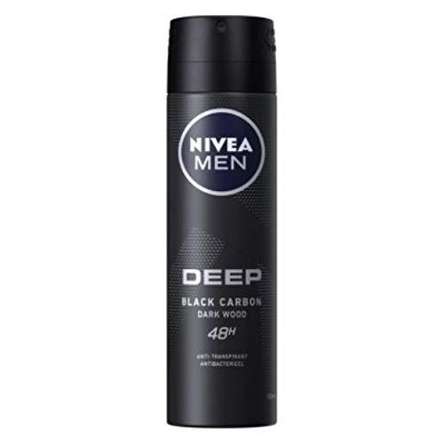 6er Pack - Nivea Men Deospray - Deep Black Carbon Dark Wood - Antitranspirant - 150ml