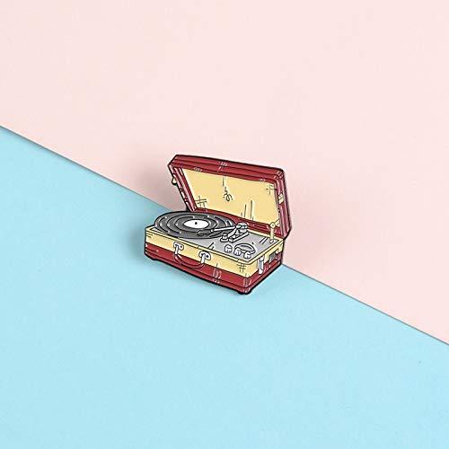 Shabby valise forme revers émail broches vinyle tourne-disque musique broches Badges vêtements sac broches bijoux cadeaux pour amis
