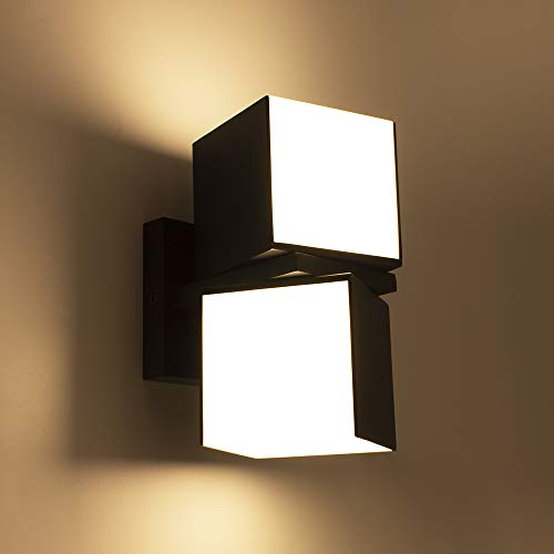 LUTEC Cuba 3000K 1100LM LED Integrated Porch Wall Light Outdoor and Indoor Bedroom LED Wall Lantern Sconce-Grey