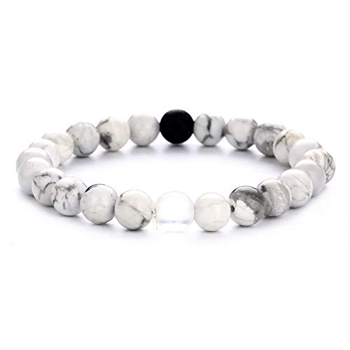 ZGRJIUERYI Steinarmband,Naturstein Perlen Armband Einfache Mode Armband Brasilianischen White Pine Stein Elastischen Seil Perlen Armband Personalisierte Kleidung Accessoires Schmuck